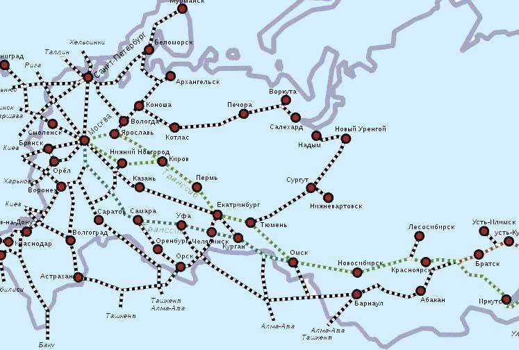 Карты железных дорог России
