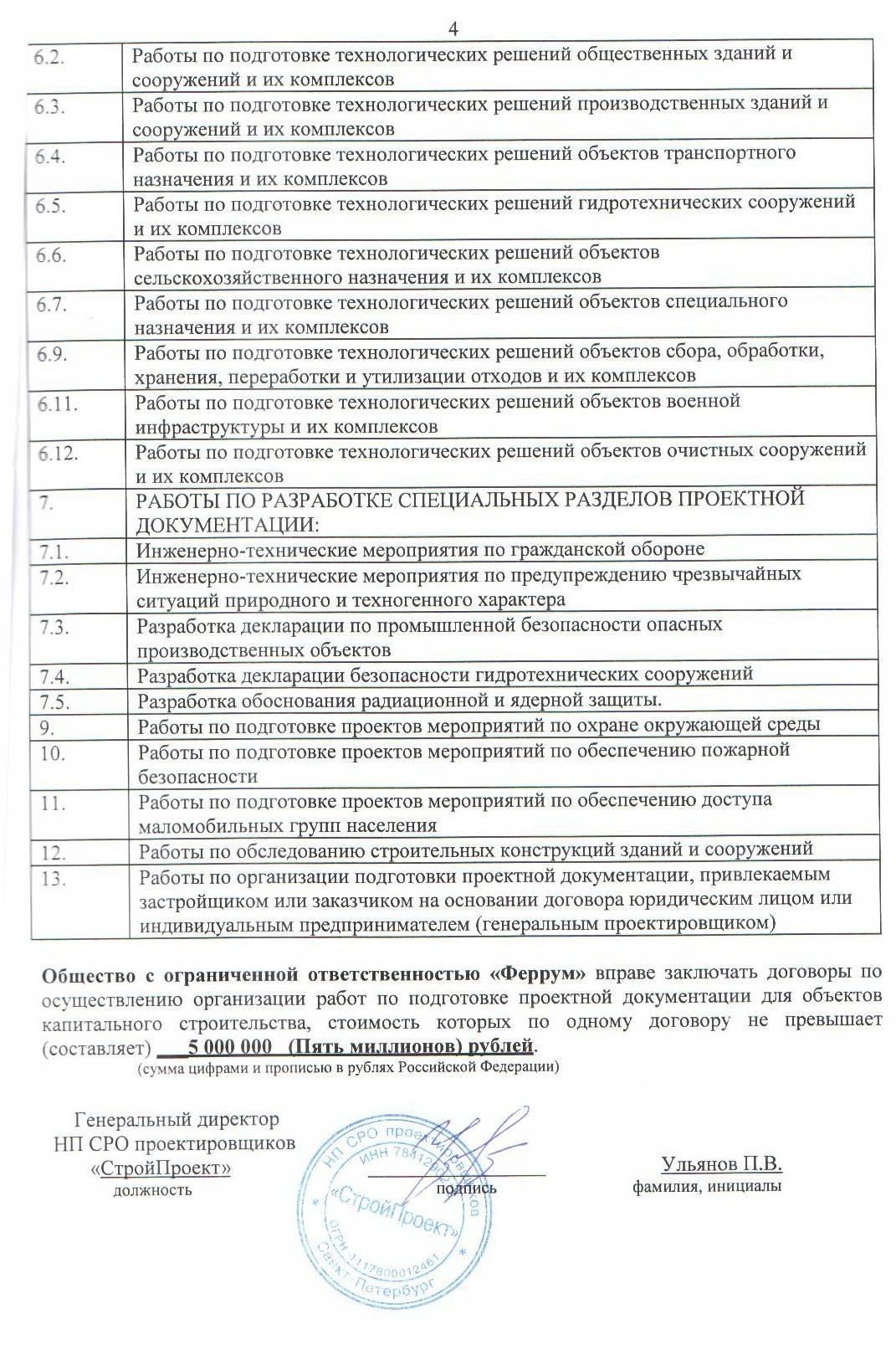 Скан Свидетельство СРО СтройПроект с приложением страница №5